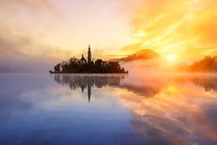 Amazing sunrise at the lake Bled in autumn, Slovenia Royalty Free Stock Photo