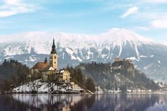 Amazing sunrise at the lake Bled in winter Stock Image