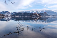 Amazing sunrise at the lake Bled in winter Stock Photography