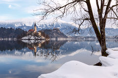 Amazing sunrise at the lake Bled in winter Royalty Free Stock Photography
