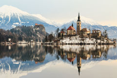 Amazing sunrise at the lake Bled in winter Stock Photo
