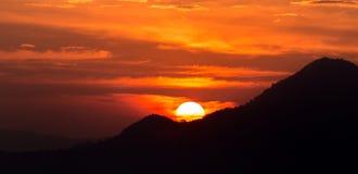 Amazing sunrise in mountain background Royalty Free Stock Photo