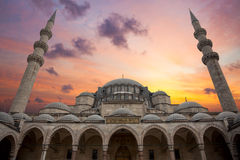 Amazing Sunrise over Blue Mosque, beautiful sky and architecture Stock Photo
