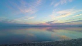 Amazing sunrise over water stock footage