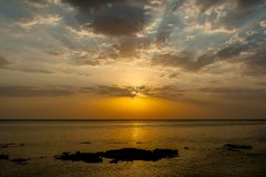 The Amazing Sunrise at the Red Sea in Calimera Habiba Beach Resort royalty free stock images