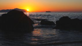 Amazing sunrise on the Red Sea in Egypt. Amazing sunrise in Egypt on the island of Tiran on the red sea stock video footage