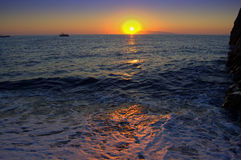 Sunrise over Aegean Sea,Greece Stock Images