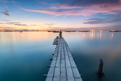 Amazing Sunrise and Sunset in George Town, Penang Malaysia. Amazing Sunrise and Sunset in Clan Jetty, George Town, Penang Malaysia Royalty Free Stock Photos