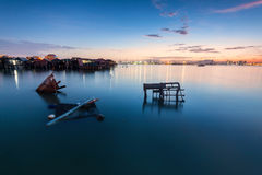 Amazing Sunrise and Sunset in George Town, Penang Malaysia. Amazing Sunrise and Sunset in Clan Jetty, George Town, Penang Malaysia Royalty Free Stock Images