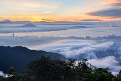 Amazing Sunrise and Sunset in Penang Hill. Amazing Sunrise and Sunset in George Town, Penang Malaysia Royalty Free Stock Photography