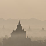 Amazing sunrise and Temples at Bagan Kingdom, Myanmar (Burma) Royalty Free Stock Images