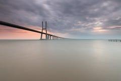 Amazing Sunrise in the Vasco da Gama Bridge Royalty Free Stock Images