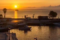 Amazing sunrise view from costal street of Zakynthos City, Ionian island, Greece. ZAKYNTHOS, GREECE - MAY 28, 2015: Amazing sunrise view from costal street of royalty free stock photography