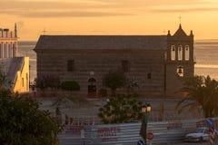 Amazing sunrise view from costal street of Zakynthos City, Ionian island, Greece. ZAKYNTHOS, GREECE - MAY 28, 2015: Amazing sunrise view from costal street of stock photography