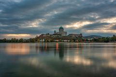 Free Amazing Sunrise View Over Danube River, Beautiful Reflections Of Morning Clouds Mirrored In Water, Esztergom, Hungary Stock Photo - 157654040