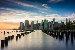 Amazing sunrise views to lower manhattan Royalty Free Stock Photography