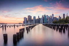 Amazing sunrise views to lower manhattan Stock Images
