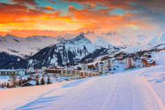 Amazing sunrise and winter landscape,Les Sybelles,France,Europe Stock Photos