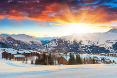 Amazing sunrise and winter landscape,Les Sybelles,France,Europe. Winter landscape and ski resort in the Alps,La Toussuire,France,Europe Royalty Free Stock Image