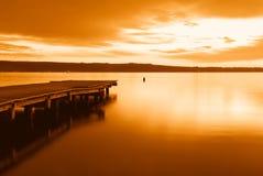 Amazing sunset. Over tropical lake Royalty Free Stock Photography