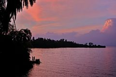 Amazing sunset in african congo Royalty Free Stock Photo