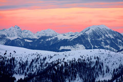 amazing sunset in Alps Stock Photos