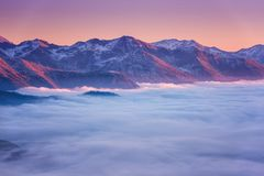Beautiful mountain winter sunset landscape with panoramic view, Alps, Hohe Tauern national park, Austria stock photo