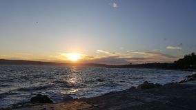 Amazing sunset. At Varna Bulgaria during autumn Stock Photo