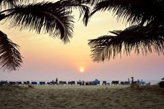 Amazing sunset at Arambol beach Stock Photos