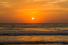 Amazing sunset at Arambol beach, North Goa, India Royalty Free Stock Photo