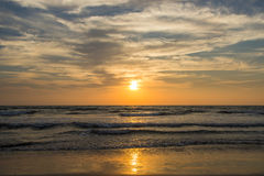Amazing sunset at Arambol beach, North Goa, India.  Royalty Free Stock Photos