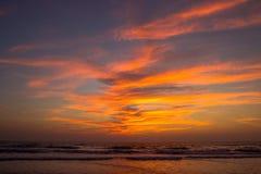 Amazing sunset at Arambol beach, North Goa, India.  Royalty Free Stock Image