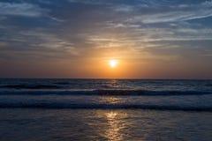 Amazing sunset at Arambol beach, North Goa, India.  Stock Photo