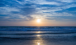 Amazing sunset at Arambol beach, North Goa, India.  Royalty Free Stock Photo