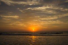 Amazing sunset at Arambol beach, North Goa, India.  Royalty Free Stock Images