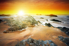 Amazing sunset at Atlantic ocean. In Ireland Stock Photo