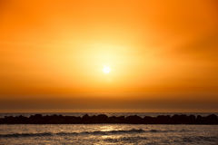 Amazing sunset on the beach Royalty Free Stock Photos