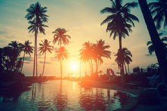 Amazing sunset at a beach resort in the tropics. Nature. Royalty Free Stock Photos