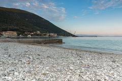 Amazing sunset on the beach of village of Vasiliki, Lefkada, Greece. Amazing sunset on the beach of village of Vasiliki, Lefkada, Ionian Islands, Greece royalty free stock photography