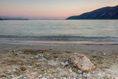 Amazing sunset on the beach of village of Vasiliki, Lefkada, Greece. Amazing sunset on the beach of village of Vasiliki, Lefkada, Ionian Islands, Greece royalty free stock photos