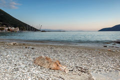 Amazing sunset on the beach of village of Vasiliki, Lefkada, Greece. Amazing sunset on the beach of village of Vasiliki, Lefkada, Ionian Islands, Greece royalty free stock images