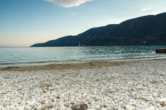 Amazing sunset on the beach of village of Vasiliki, Lefkada, Greece. Amazing sunset on the beach of village of Vasiliki, Lefkada, Ionian Islands, Greece stock photography