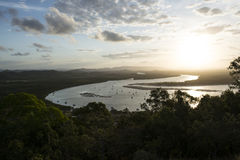 Amazing Sunset on a big river, Australia Royalty Free Stock Photo