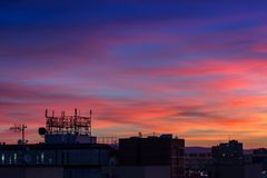 Amazing sunset blue sky with building silhouette.  royalty free stock image