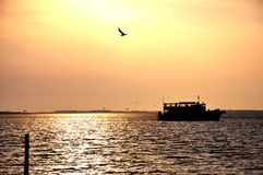Amazing sunset and the boat. Boat trip with passengers at the beautiful sunset Royalty Free Stock Photos