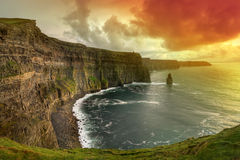 Amazing sunset at Cliffs of Moher. Cliffs of Moher at sunset, Co. Clare, Ireland Stock Photography