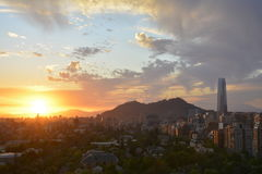 Amazing sunset clouds  in Santiago, Chile Stock Photo