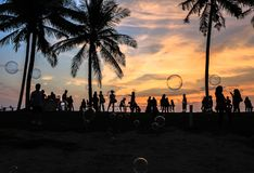 Amazing sunset in Coco Cabana Beach in Miri, Sarawak stock photo