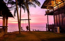 Amazing sunset in Coco Cabana Beach in Miri, Sarawak. This picture is taken in Coco Cabana Beach, Miri. Coco Cabana is a modern seaside area where there famous stock photos
