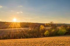 Amazing sunset in colorful autumnal landscape Royalty Free Stock Image